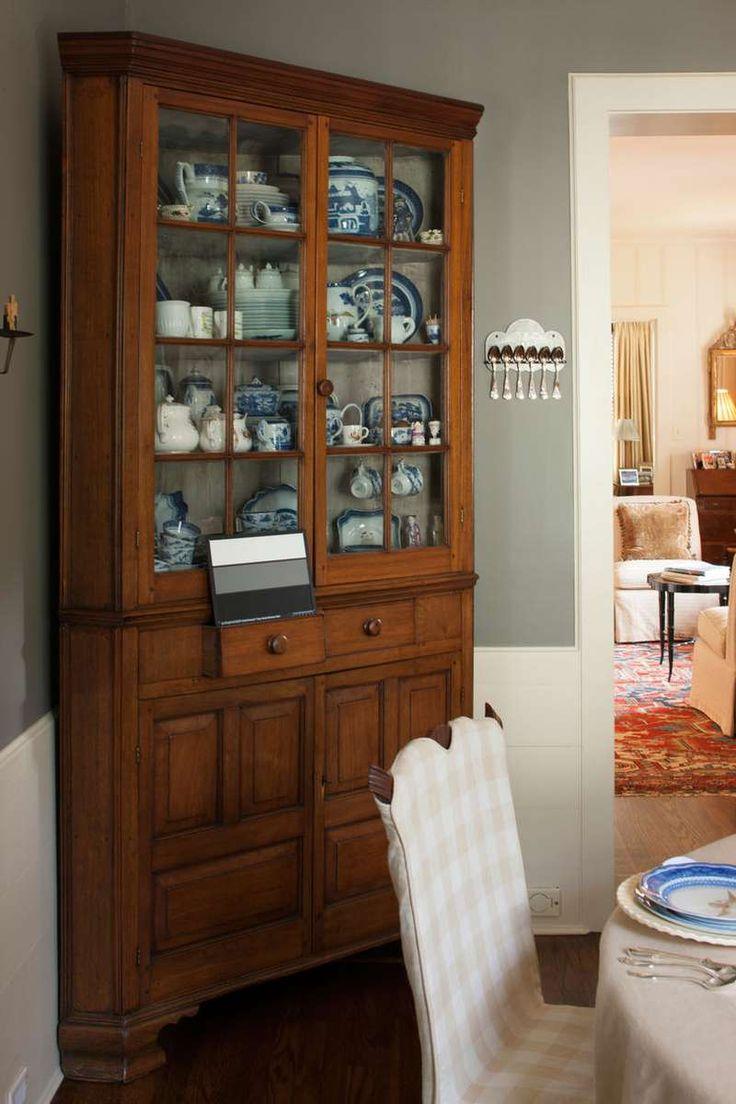 Ann mirror insert double door single drawer wooden corner cabinet - Cape Cod Style Makeover Gorgeous Antique Corner Cabinet