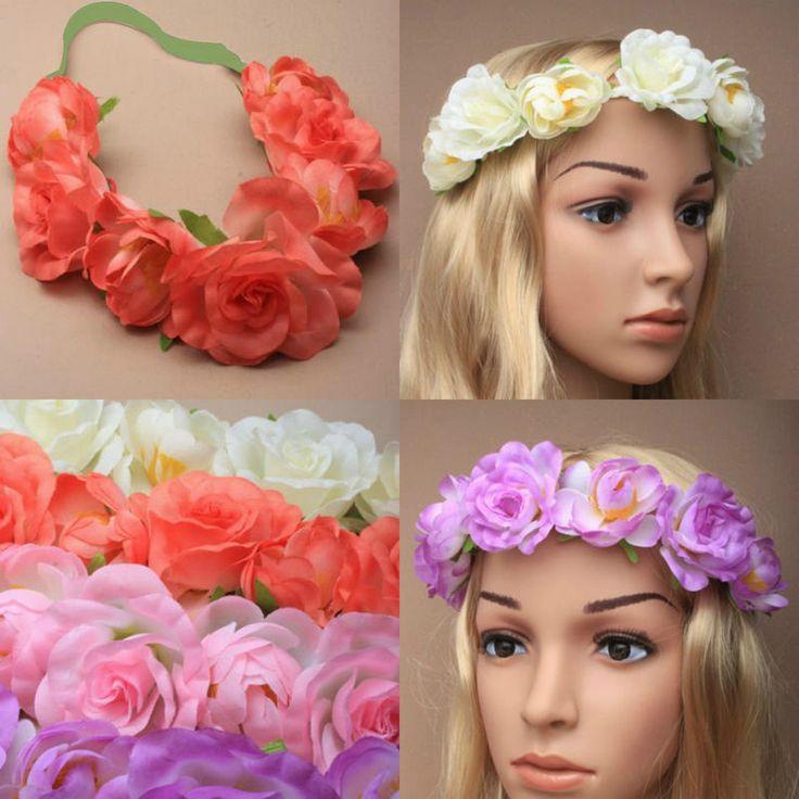 Ladies Boho Flower Garland Hair Band Headband Wedding Photograph Beach Wreath