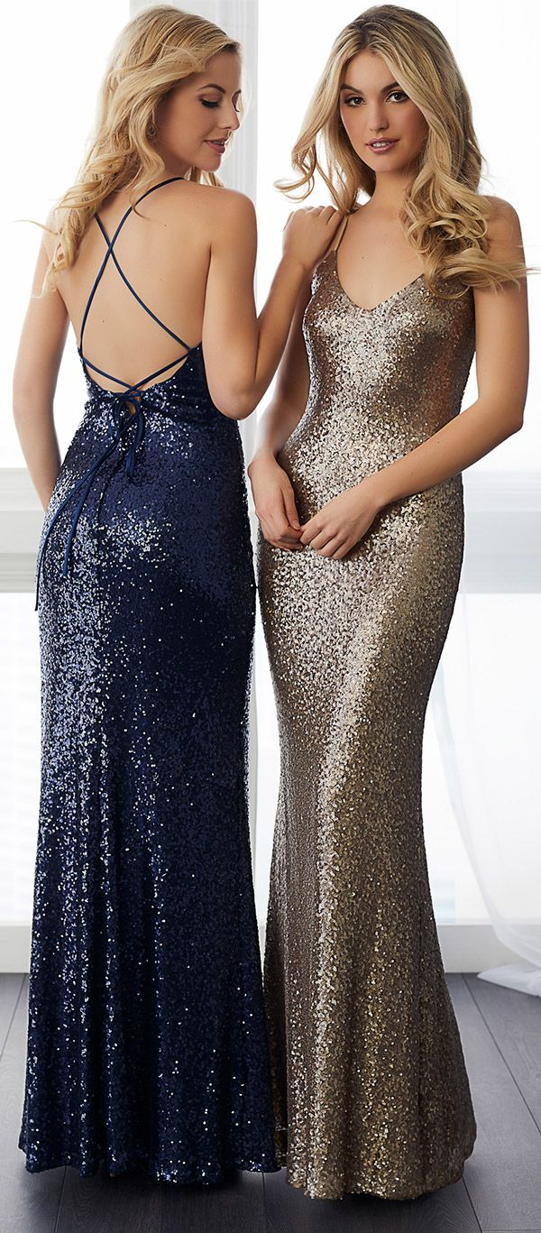 Let your squad sparkle in style! These #ChristinaWuCelebration bridesmaid gowns take glam to a whole new level with all-over sequins and  a fashion forward strappy back detail. Shown: @houseofwubrands Style 22782 in Navy and Bronze. #HouseofWu #wedding #bridal #ad #bridesmaid #bridesmaids #weddingdress #glambride #sequin #weddinginspiration