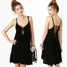 Women Sexy Hot Summer Casual Spaghetti Strap Deep V Tank Sheer A-Line Slip Dress