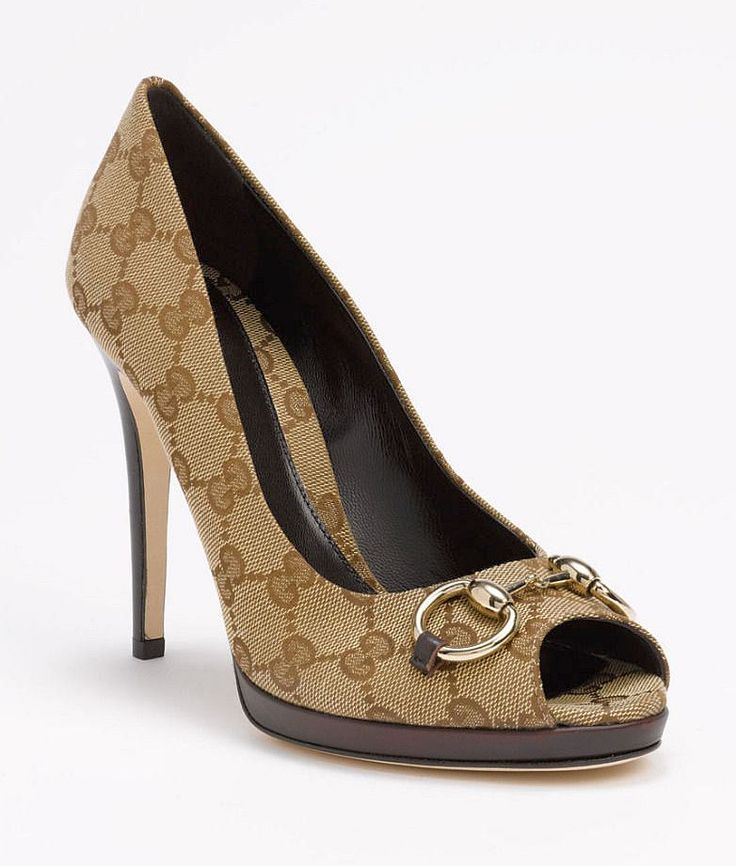 Gucci Heels (Pre-owned New Hollywood Beige Pumps Open Toe Iconic Jacquard Designer High Heel Shoes)
