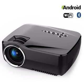 Portable WiFi Projector Android OS Hizek 1200LM LED Bluetooth Wireless Home Theater Support APP Download with Google Play, YouTube, Netflix (Upgraded Version) Android OS