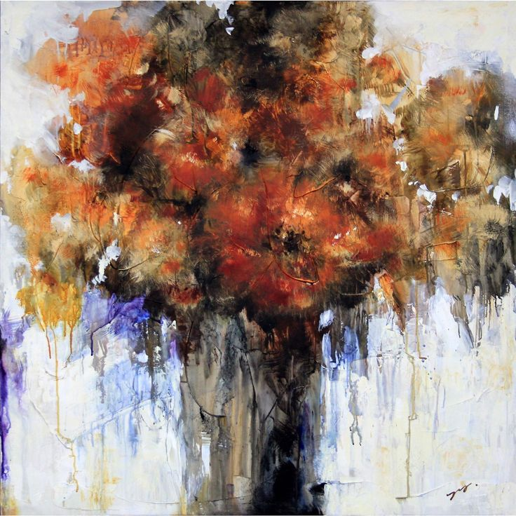 Turn a blank wall into a gallery with this Art In Style hand-painted art canvas, which features a vase of flowers. With its warm colors and abstract style, the stretched canvas piece suits a modern ho