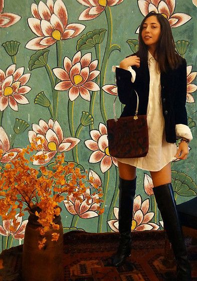 Get this look: http://lb.nu/look/8846293  More looks by Alexandra: http://lb.nu/silvermoonchild  Items in this look:  Peruvian Made Handbag, Michael Kors Black Leather Boots, Banana Republic Vintage Velvet Blazer, Calvin Klein Mens Calvin Klien Shirt   #artistic #chic #vintage #boots #autumnlooks #blazer #nopants