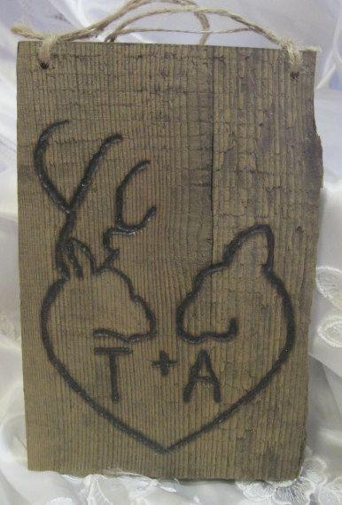 Rustic Wedding Barnwood Personalized Woodburned Sign Natural Woodland Deer