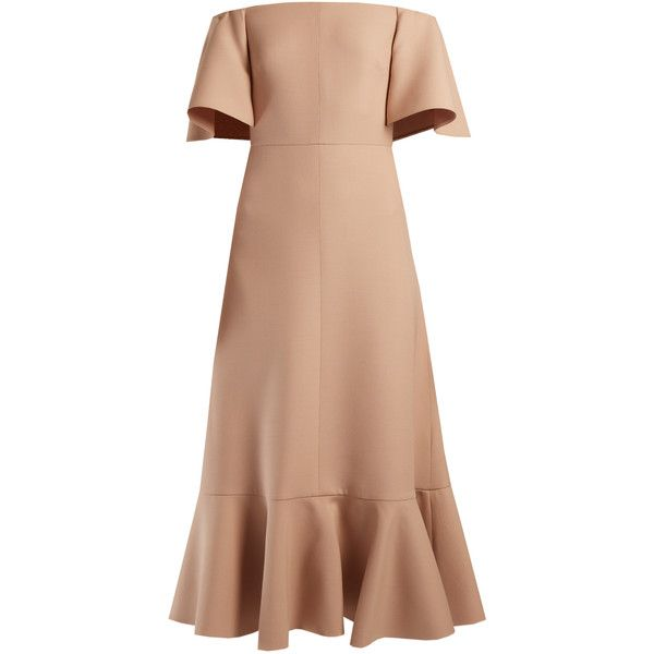 Valentino Off-the-shoulder crepe midi dress (€3.445) ❤ liked on Polyvore featuring dresses, nude, slimming dresses, mid calf dresses, flutter-sleeve dress, valentino dress and ruffle dress