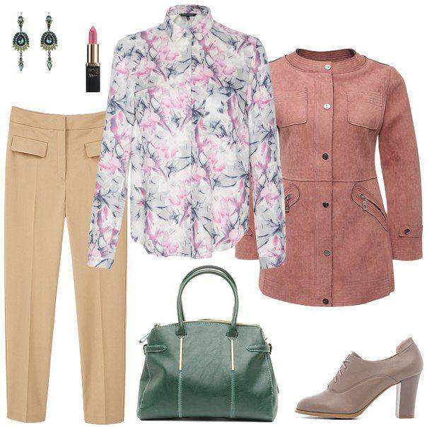 Блузка с цветами, бежевая юбка, зеленая сумка, бежевые туфли