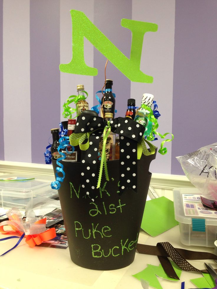 Nicks 21st birthday Puke bucket and alcohol bouquet
