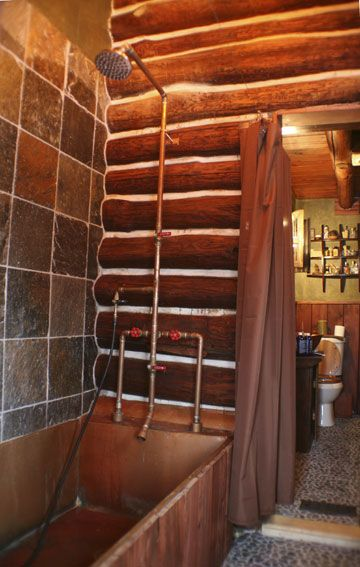 Exposed custom copper shower system with the instructions.
