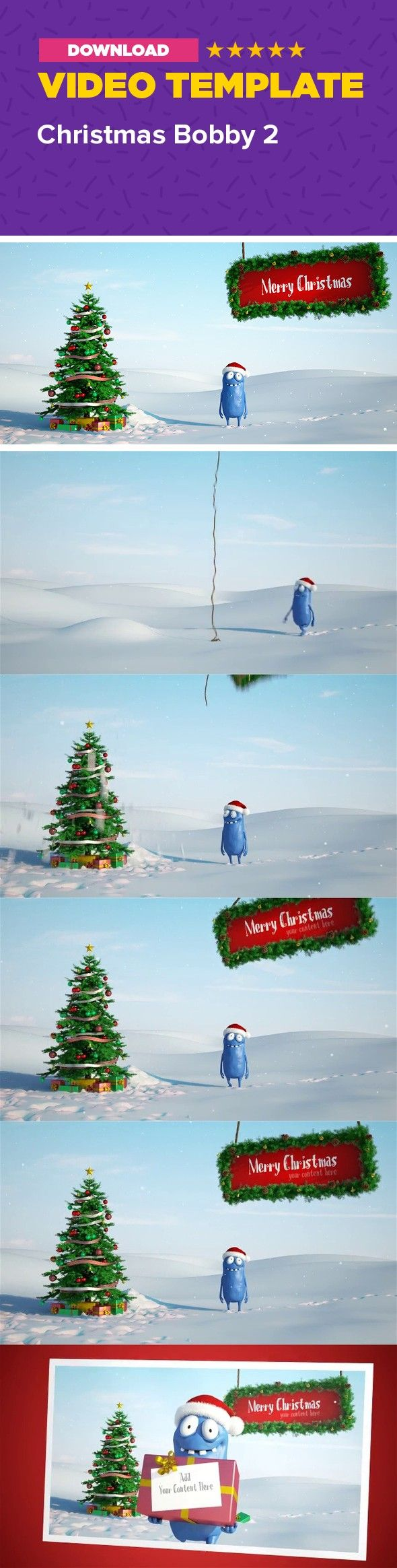 3d, animation, card, cartoon, character, christmas, funny, gift, holiday, logo, mascot, present, snow, winter, xmas                     After Effects CS4 and above HD Resolution – 1920×1080 / 24fps / 17 sec No plug-ins required Very fast render – about 2 minutes on I7 There are 3 placeholders. The board (top right), the card on the gift and the card at the end where the logo is. To add your content just drag and drop it. There are masks for the different elements so you can easily make…