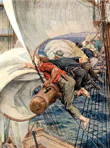 Sailing Days - On The Yard-Arm, Furling The Mainsail