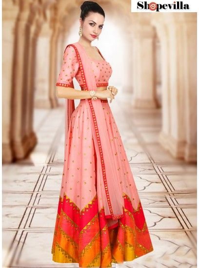 Peach Color Simple Embroidery Lehenga For Ladies-FKFBL060