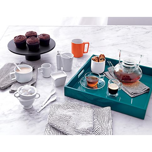 square hi-gloss swoon tray in all accessories | CB2