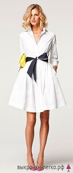 Выкройка стильного платья-рубашки (Шитье)