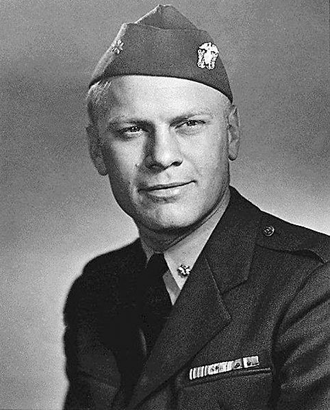 pre-President Lt. Cmdr. Gerald Ford in uniform, 1945 - served in the light aircraft Carrier Monterey in the Pacific war. Later promoted Lieutenant Commander USNR.
