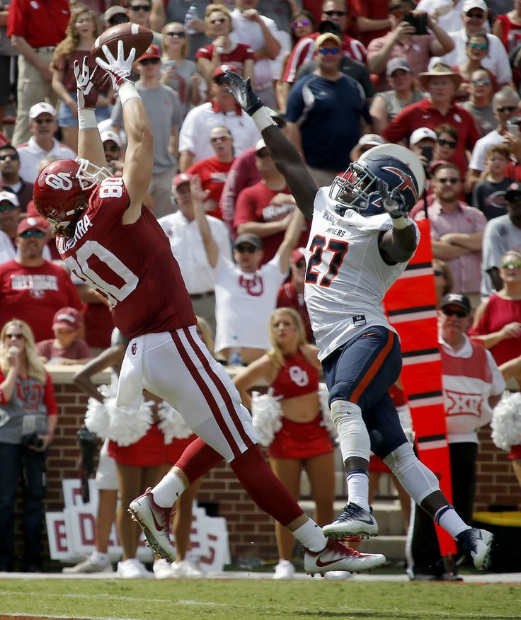 Oklahoma's Grant Calcaterra (80) catches a touchdown pass in front of UTEP's Devin Cockrell (27) during a college football game between the Oklahoma Sooners (OU) and the University of Texas at El Paso Miners (UTEP) at Gaylord Family-Oklahoma Memorial Stadium in Norman, Okla., Saturday, Sept. 2, 2017. Photo by Bryan Terry, The Oklahoman
