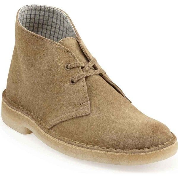 Clarks Women's Desert Boot Oakwood Suede Boots ($120) ❤ liked on Polyvore featuring shoes, boots, ankle boots, brown, long brown boots, short brown boots, suede ankle boots and low heel ankle boots