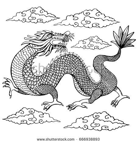 Tradition Asian Dragon Illustration.Coloring book