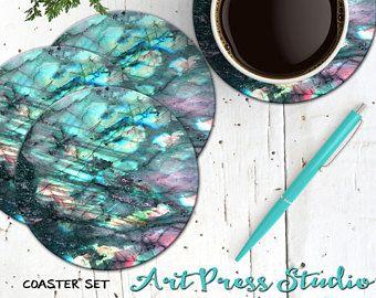Labradorita posavasos, posavasos de piedra de luna arco iris, retroceder de corcho 4 posavasos Boho de la piedra preciosa, piedra labradorita espiritual