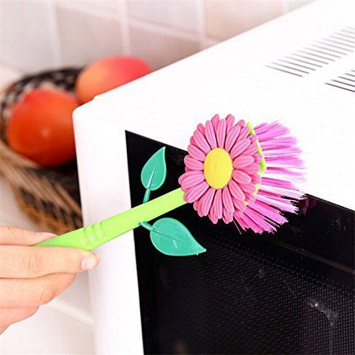 Buwico Sun Flower Kitchen Cleaning Tool Brush, Kitchen Gadgets Tools Pan Pot Brush with Holder Base Design Long Handle, Nice Looking 3 Colours (Plum): Amazon.co.uk: Kitchen & Home