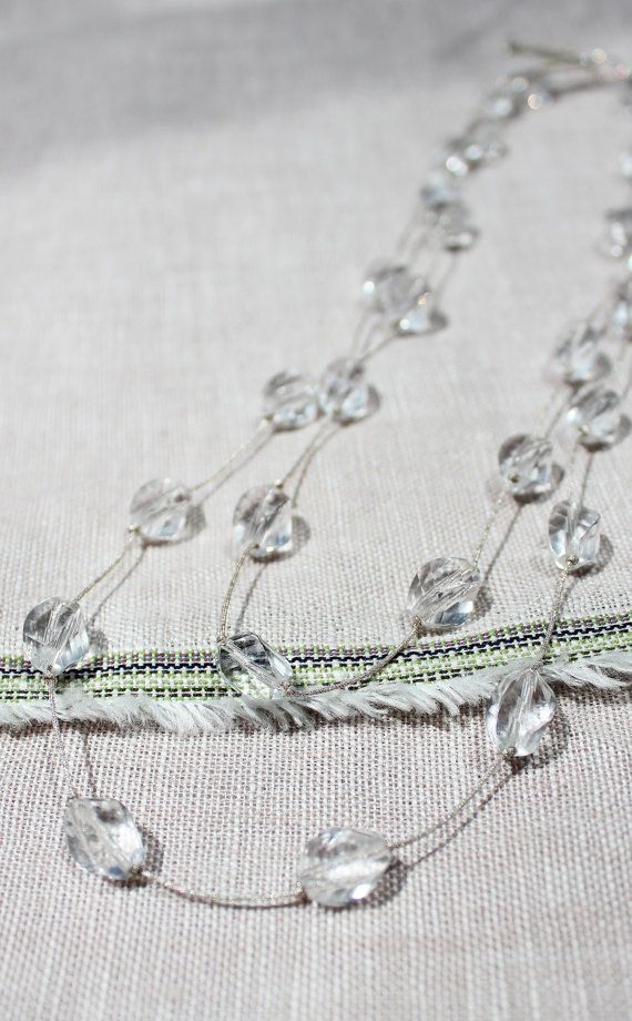crystal knotted long necklace.