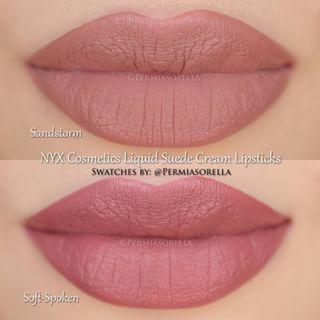 NYX Cosmetics Liquid Suede Cream Lipsticks in Sandstorm & Soft-Spoken