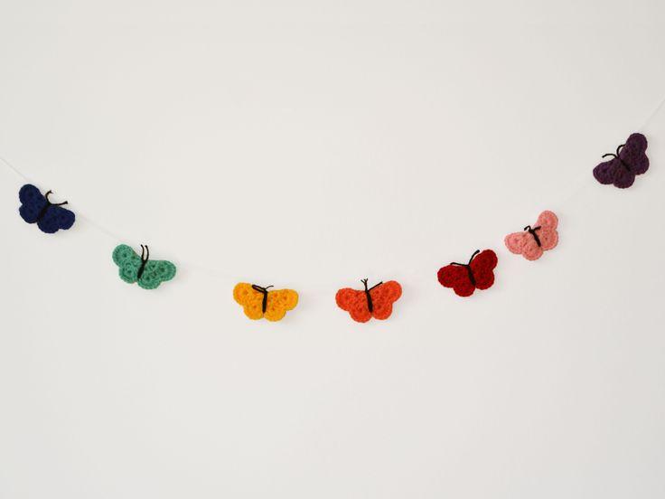 Bandeirola de crochê - Borboleta