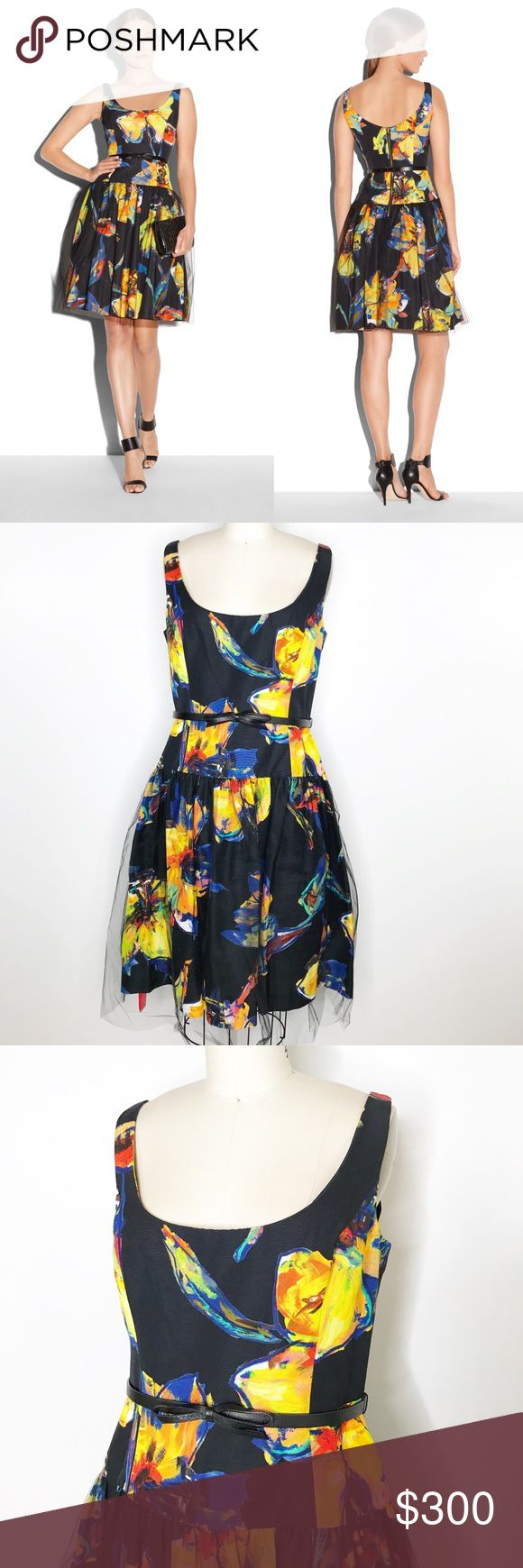 "⭐️ NEW ARRIVAL Milly Pop Art Floral Cocktail Dress This beautiful cocktail dress is brand new with tags. A chic drop waist is accented with a bow belt and the flared skirt is covered in black tulle. There are bra strap holders on the straps and the inside is fully lined.   Bust 38"", waist 30-31"" and 37 length with the tulle going to 40"".   Belt is marked 14 in the back but seems to fit the dress fine.   013018 Milly Dresses"