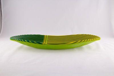 Bådformet fad gul/grøn stribet