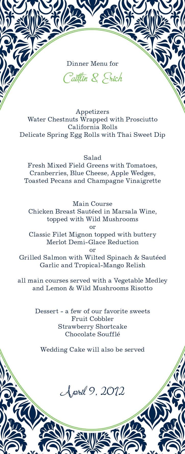 Our menu design from magnetstreet