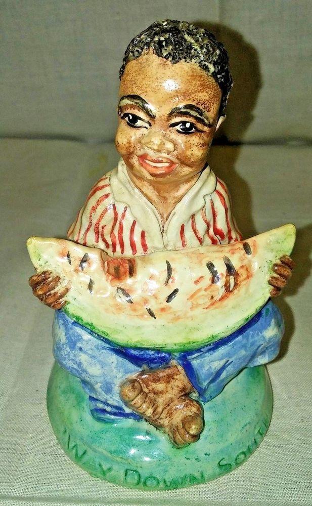 Vintage Blk Americana Chalkware Boy Eating Watermelon Decorative Art Figurine