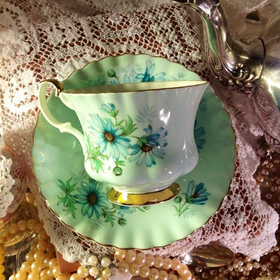 Vintage Royal Albert - Green/Blue daisies on a green background - English Fine Bone China Tea  Cup & Saucer.