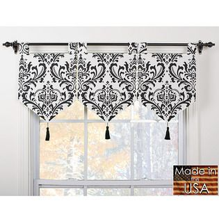 "Country Life Black 52""x20"" Ascot Window Valance with Tassel- Waverly-For the Home-Window Coverings & Hardware-Valances & Scarves"