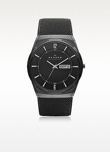 Melbye Black Stainless Steel Mesh and Titanium Case Multifunction Men's Watch - Skagen #men #smart #watch #fashion #style #women #chronograph