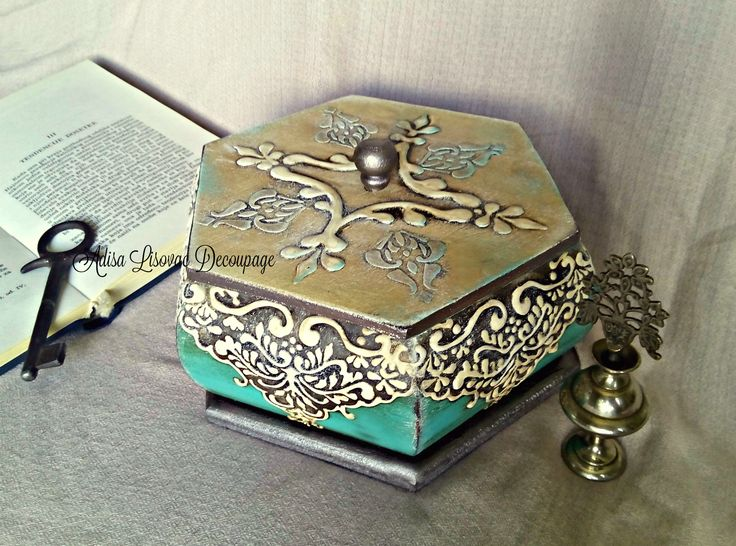 vintage old antique vintage old jewelry box turquoise decoupage Adisa Lisovac