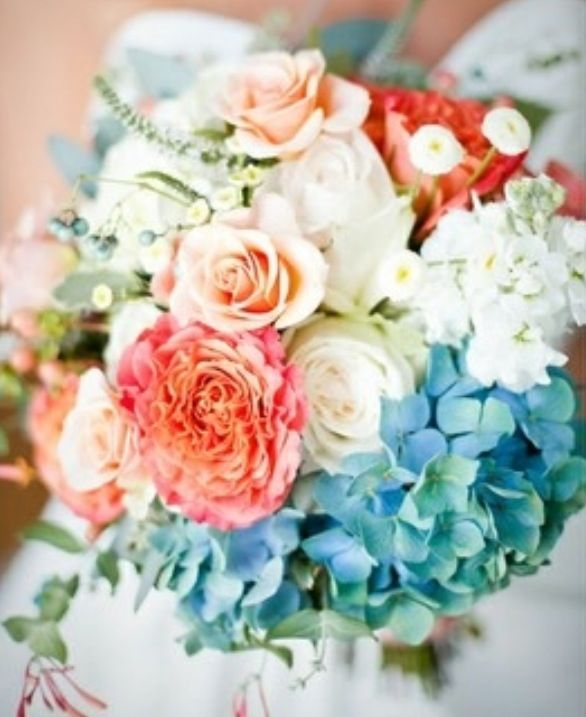 Coral Blue And White Bouquet Instead Of Coral Change