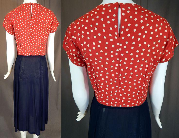 Vintage 1940s Patriotic WWII Red White Blue Polka Dot Silk Swing Dance Dress   eBay