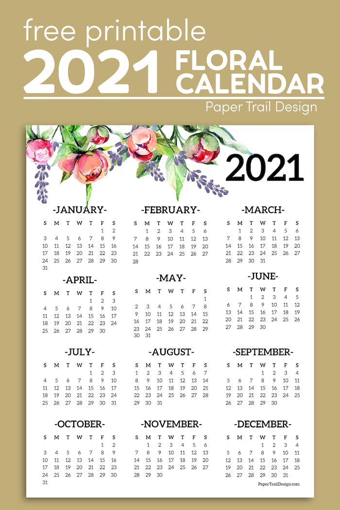 Free Printable 2021 One Page Floral Calendar Paper Trail Design In 2020 Free Printable Calendar Templates Print Calendar Free Printable Calendar