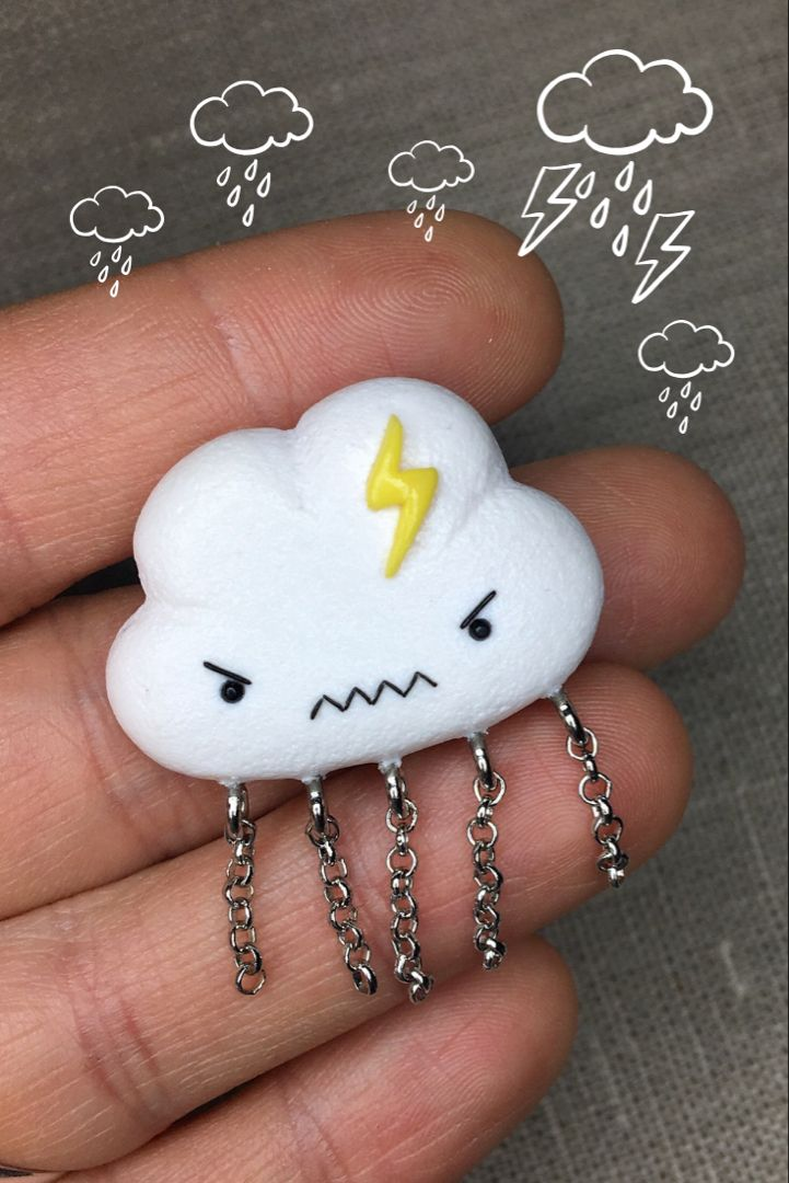 debb35653fcfc Angry but cute polymer clay pin! #polymerclay #polymerclayjewelry ...