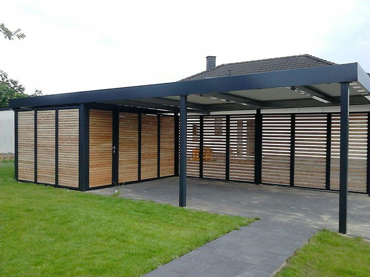 carport mit ger teraum und wandelementen aus holz. Black Bedroom Furniture Sets. Home Design Ideas