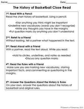 The History of Basketball: A Non-Fiction Close Read for 4t