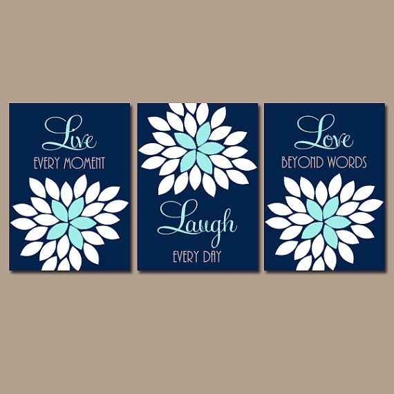 Live Laugh Love Decor Navy Aqua Wall Art CANVAS or Prints