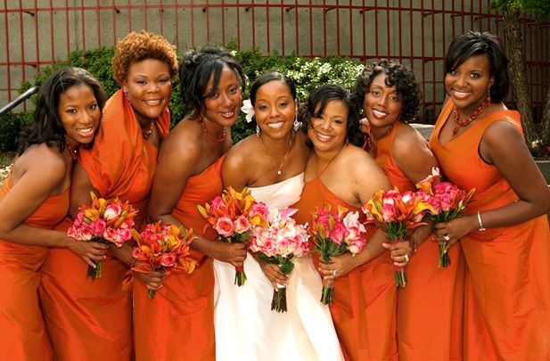 Orange bridesmaid dresses remain to be dresses designed for a wedding party which get bright colors that could highlight the all the events in a party ceremony.