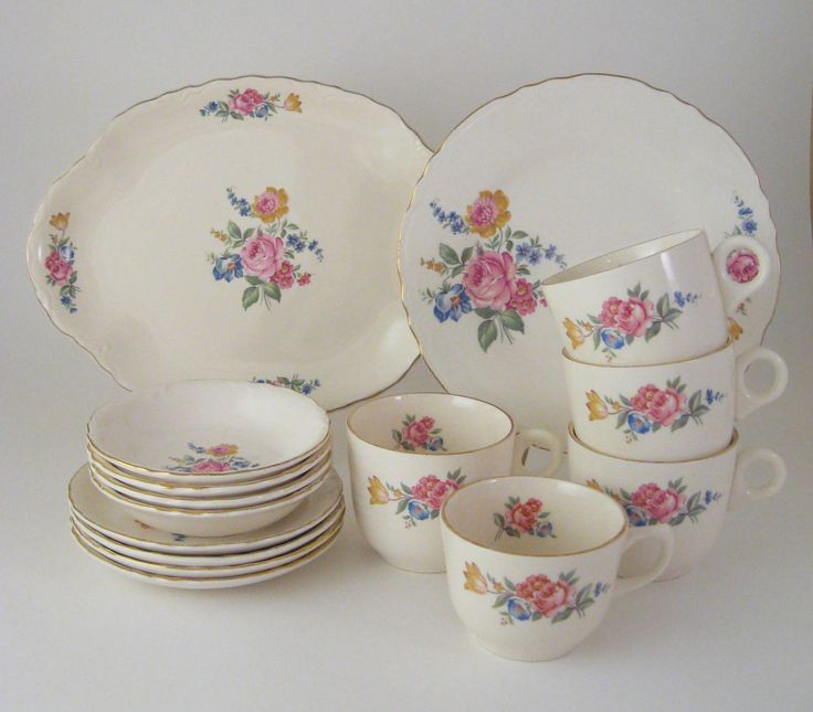 17 best crooksville dishes images on pinterest dishes dinnerware reserved vintage crooksville dinnerware set floral coffee and dessert set 1940s fandeluxe Images