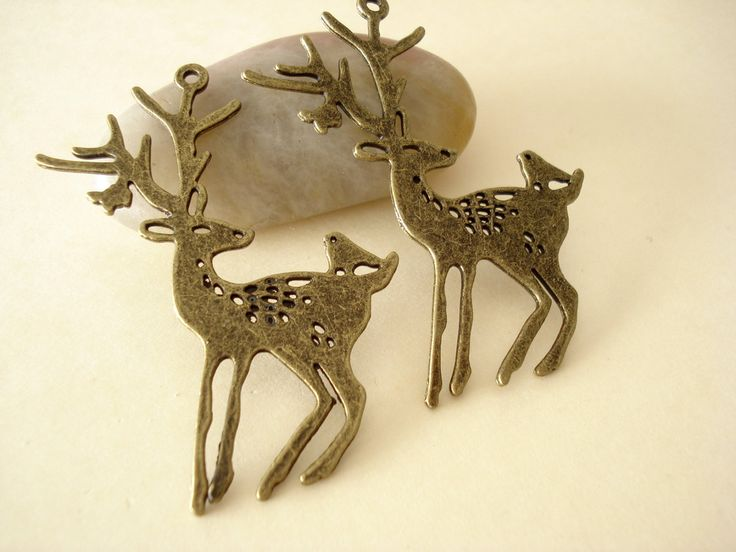 2pcs Antiqued Bronze Large Spotted Deer Pendant Double Side (60x45mm) B818 by yooounique on Etsy