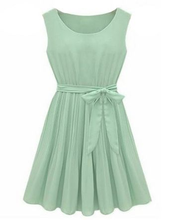 Mint Green Sleeveless Pleated Belt Chiffon Dress