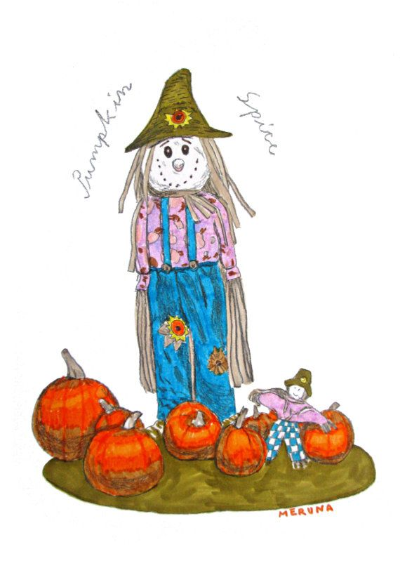 Pumpkin Spice Scarecrow Illustration Print by MerunaArt on Etsy #pumpkin #spice #haloween #scarecrow