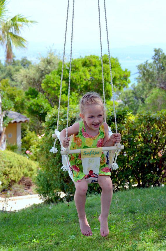 Monogramed baby swing swing interior al aire libre oscilación
