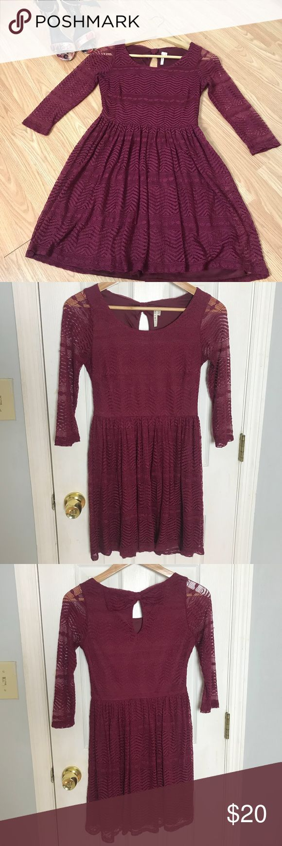 Wine Colored Bow Back Lace Dress - Empire Waist Hello Beautiful! :-)  This adorable wine-colored dress features an empire waist and A-line skirt which creates a beautiful silhouette.  Only worn a handful of times. Great condition!   Thanks for shopping! :-) miami Dresses Long Sleeve
