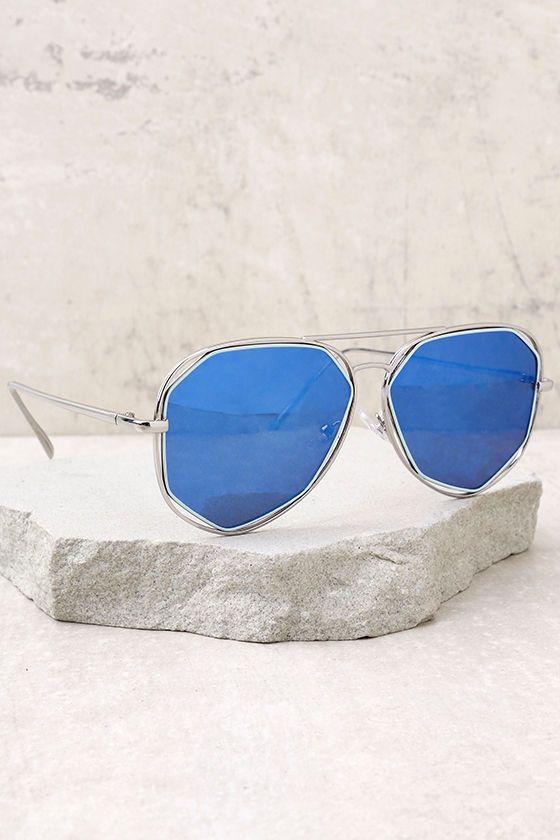 Hello Hot Stuff Silver and Blue Sunglasses